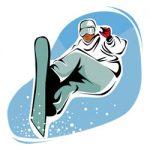 Snowboarden kleurplaat