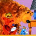De bruine beer in het blauwe huis kleurplaten