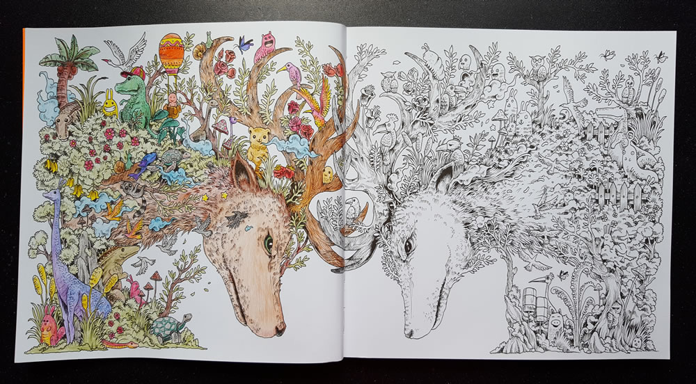 Een tekening uit 'Animorphia. Een uitdagend kleur- en zoekboek'. Ingekleurd door Gwen.