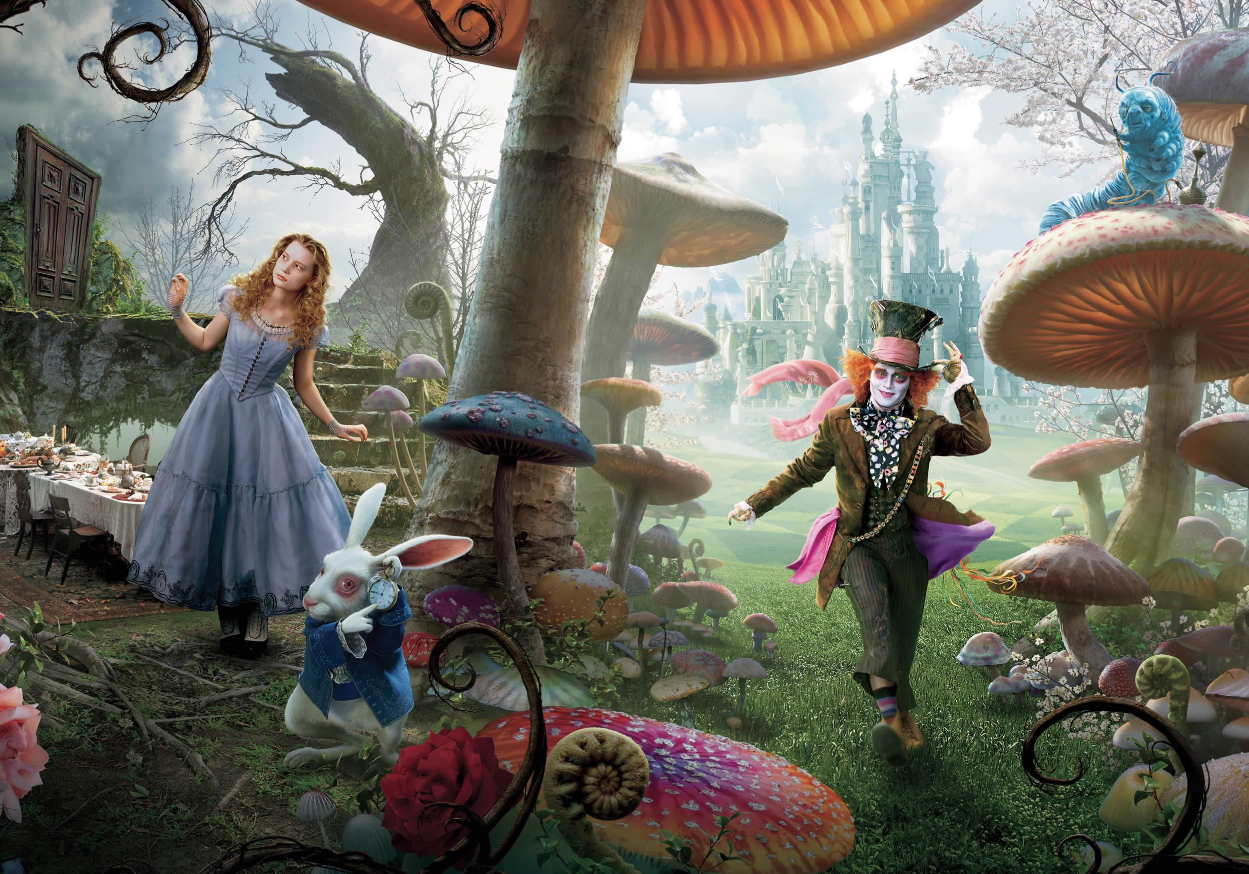 download wallpaper: Alice in Wonderland – Alice, de Mad Hatter en het konijn wallpaper
