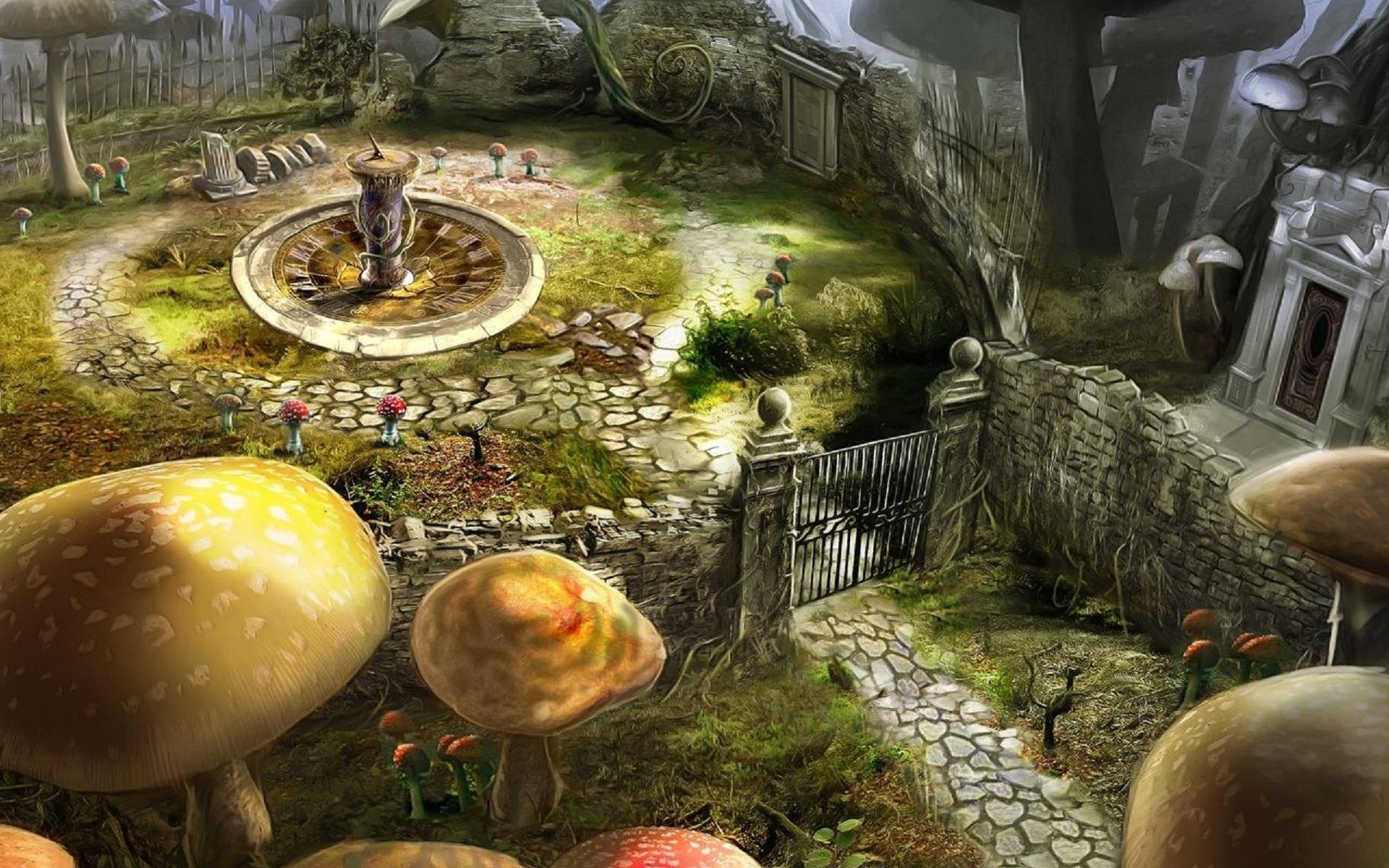 download wallpaper: Alice in Wonderland – de tuin wallpaper