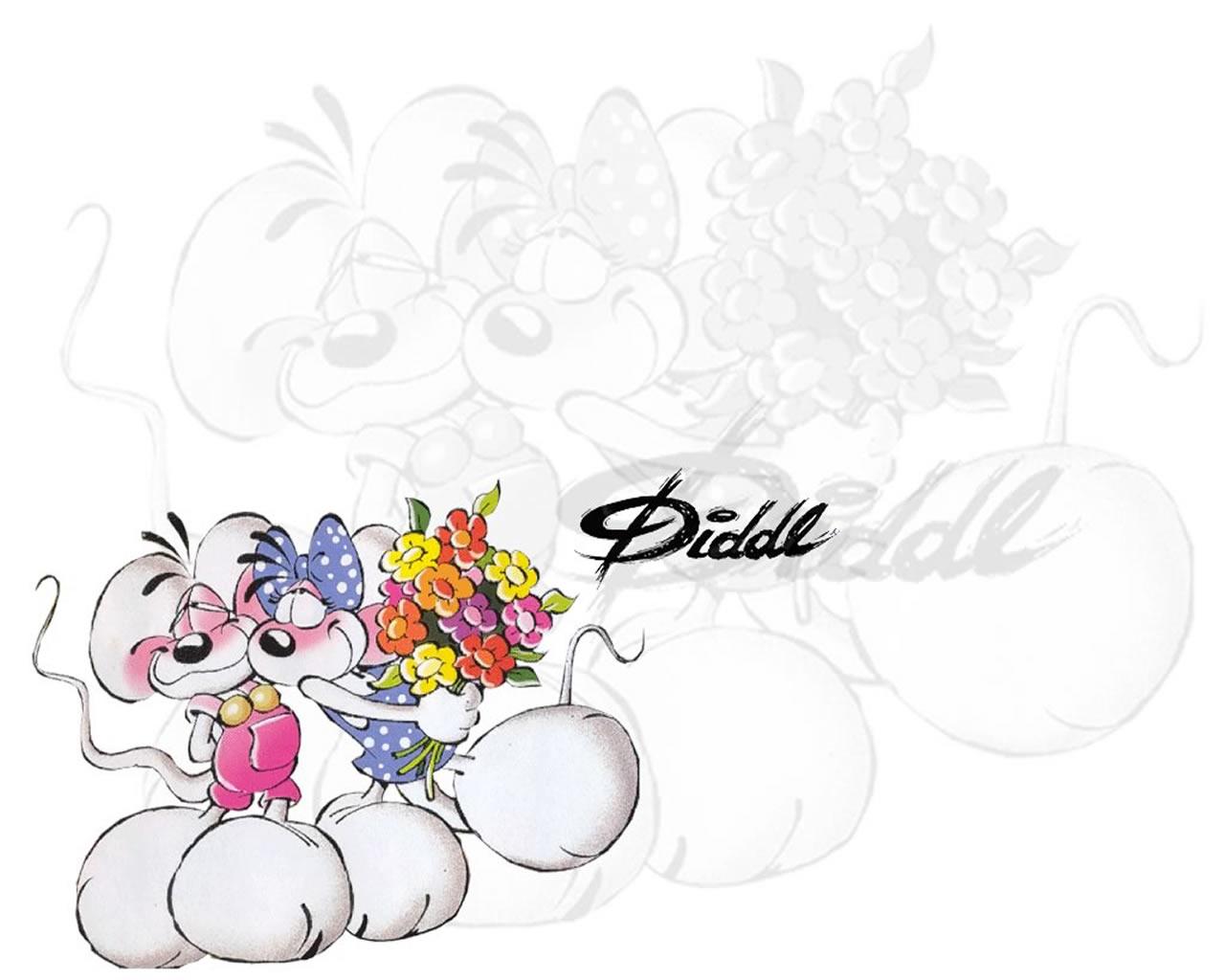 download wallpaper: Diddl en Diddlina met bloemen wallpaper