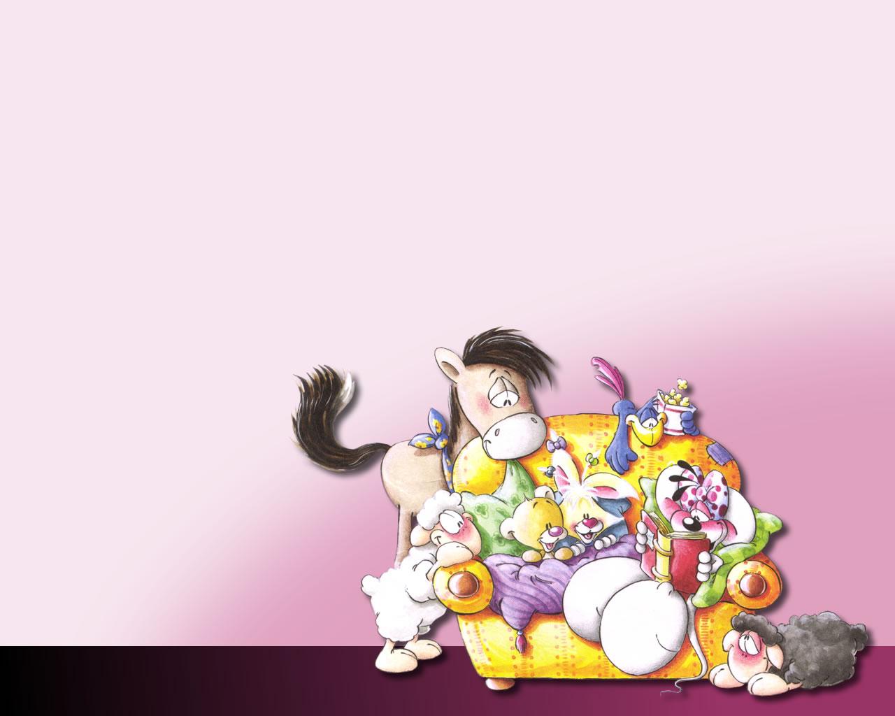 download wallpaper: Diddl en zijn vriendjes op de sofa wallpaper