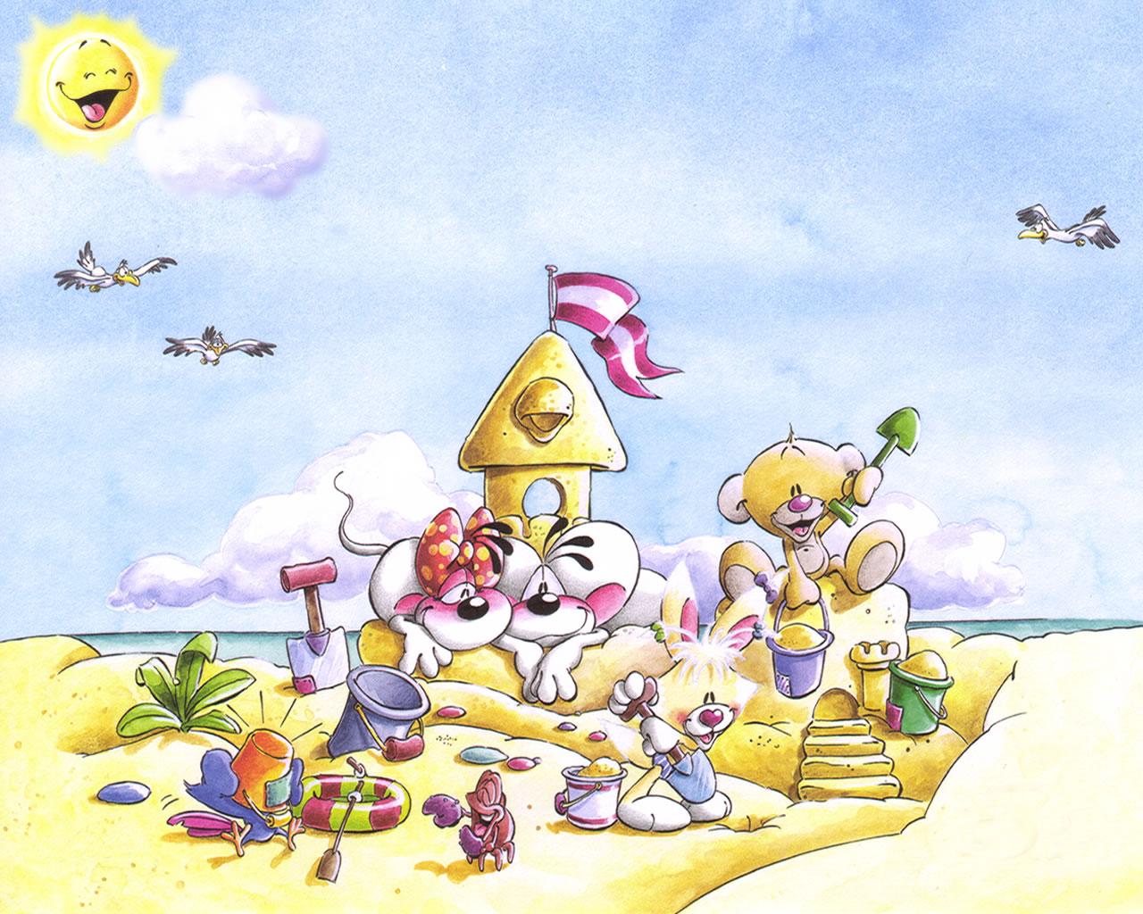 download wallpaper: Diddl en  zijn vriendjes op het strand wallpaper