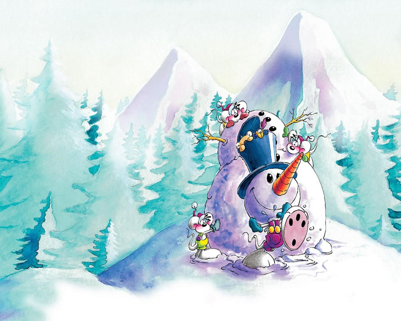 download wallpaper: Diddl maakt een sneeuwpop wallpaper