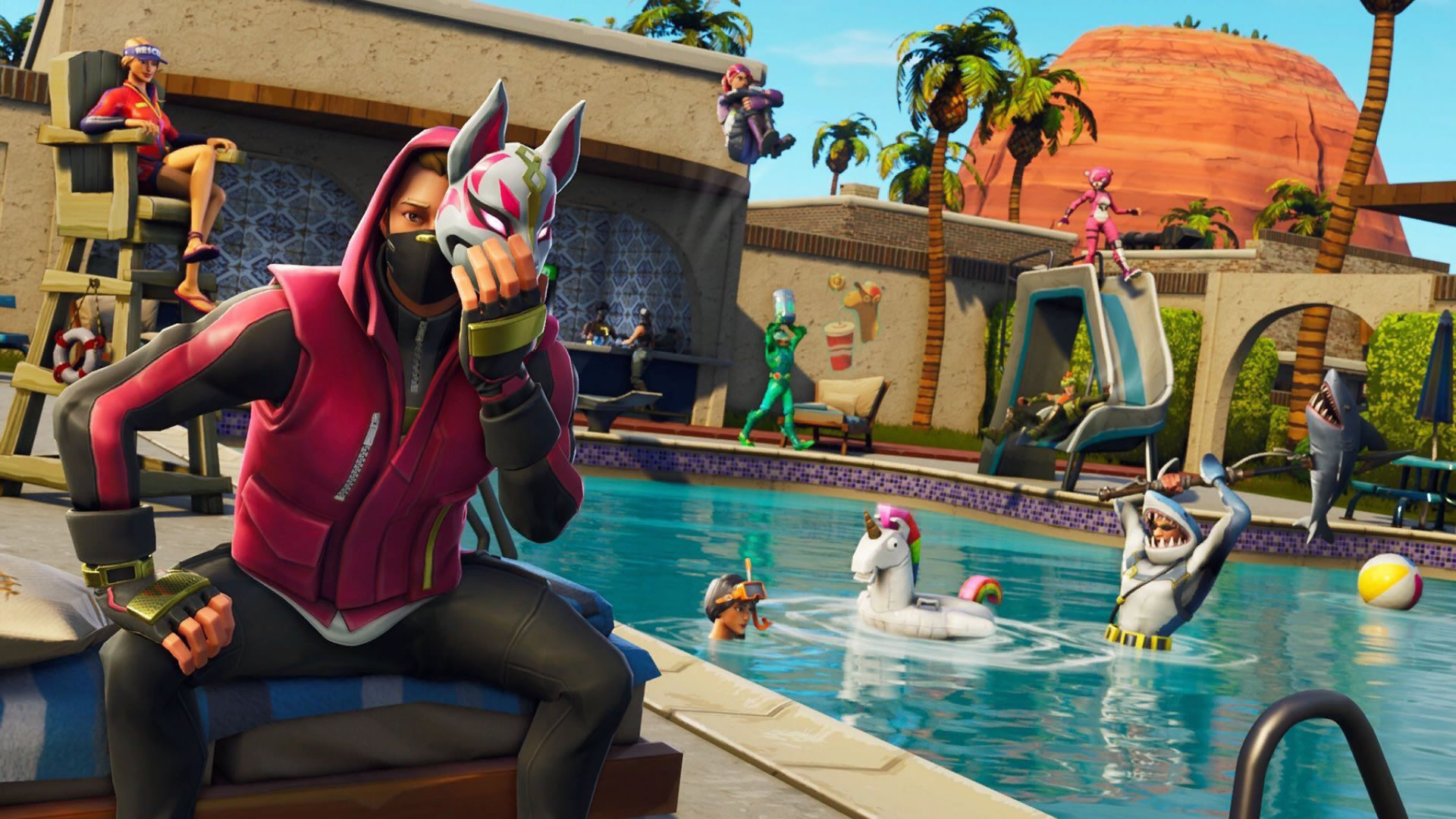 download wallpaper: Fortnite pool party – Masked Fury wallpaper
