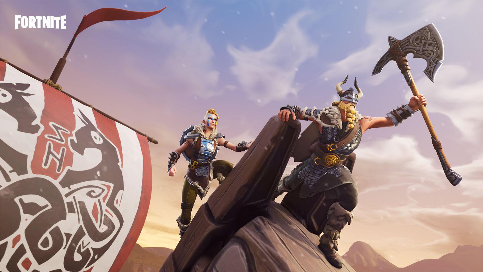 download wallpaper: Fortnite skins – Magnus & Huntress wallpaper