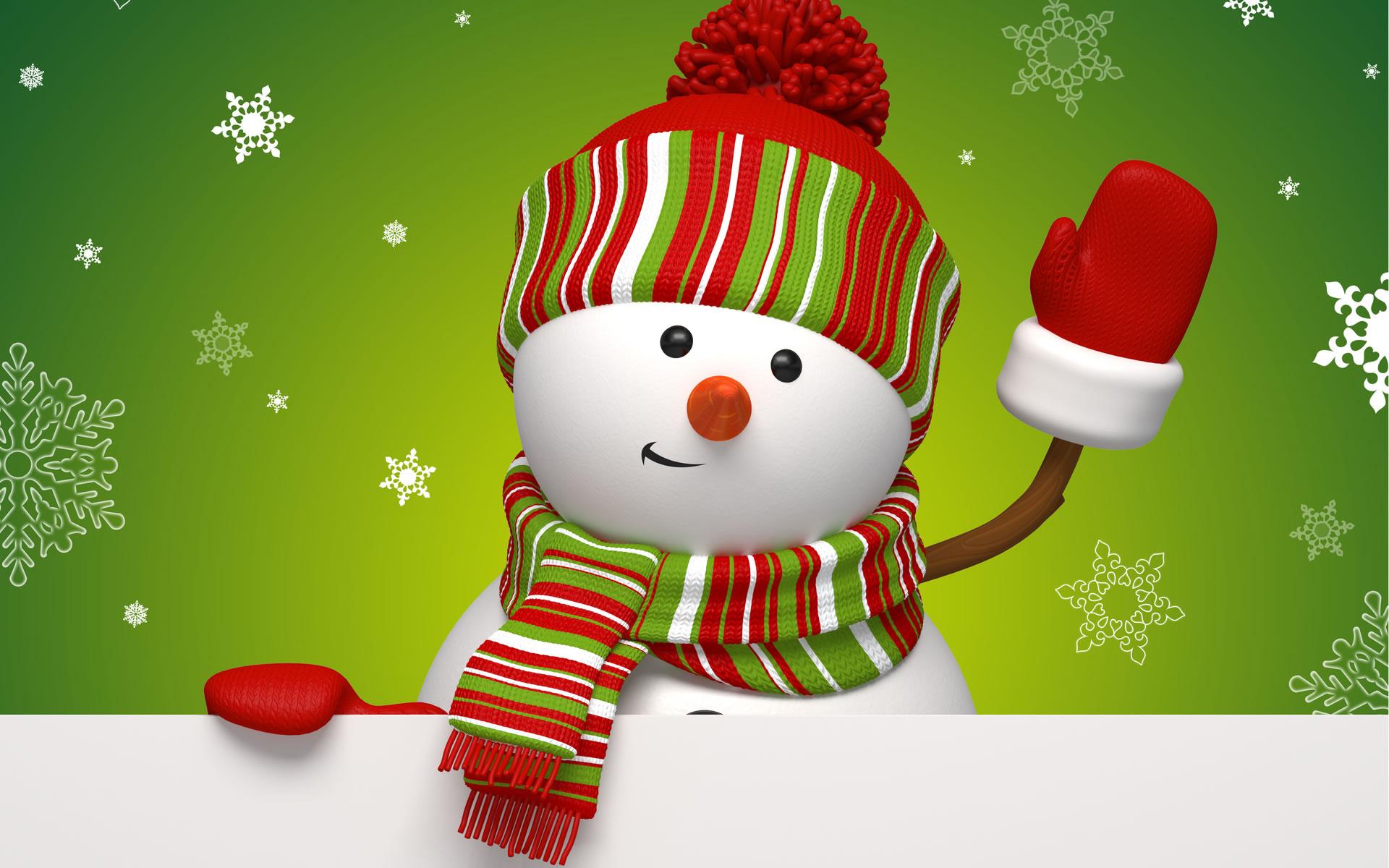 download wallpaper: zwaaiende sneeuwman wallpaper