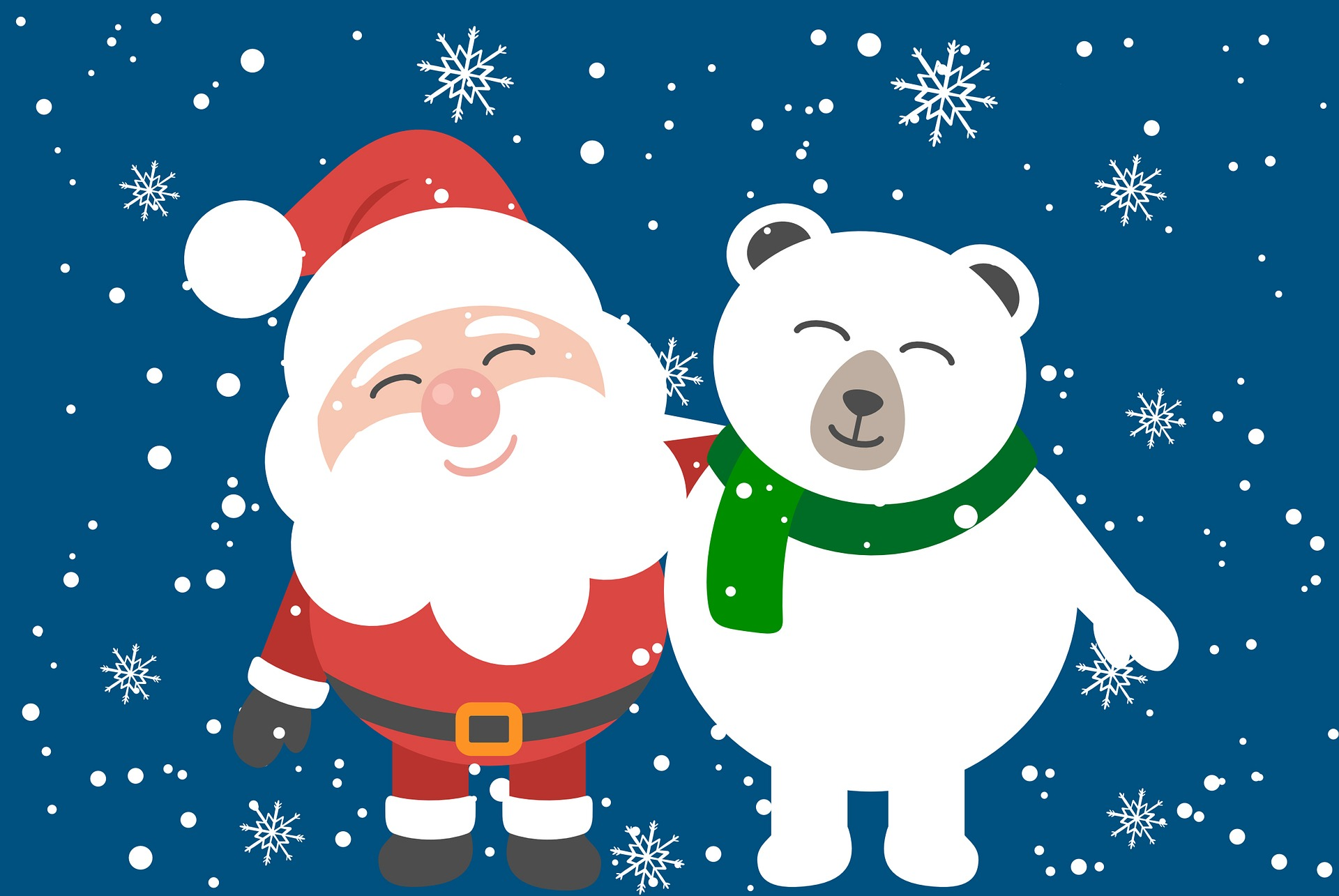 download wallpaper: De Kerstman en een poolbeer wallpaper