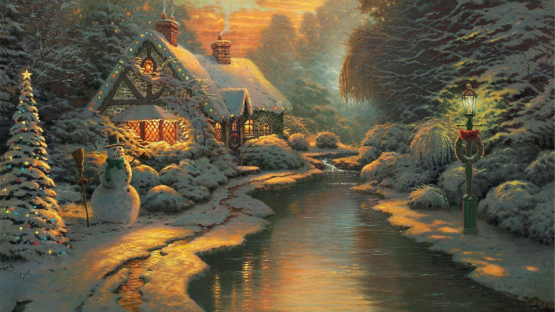 download wallpaper: Kersttafereel wallpaper