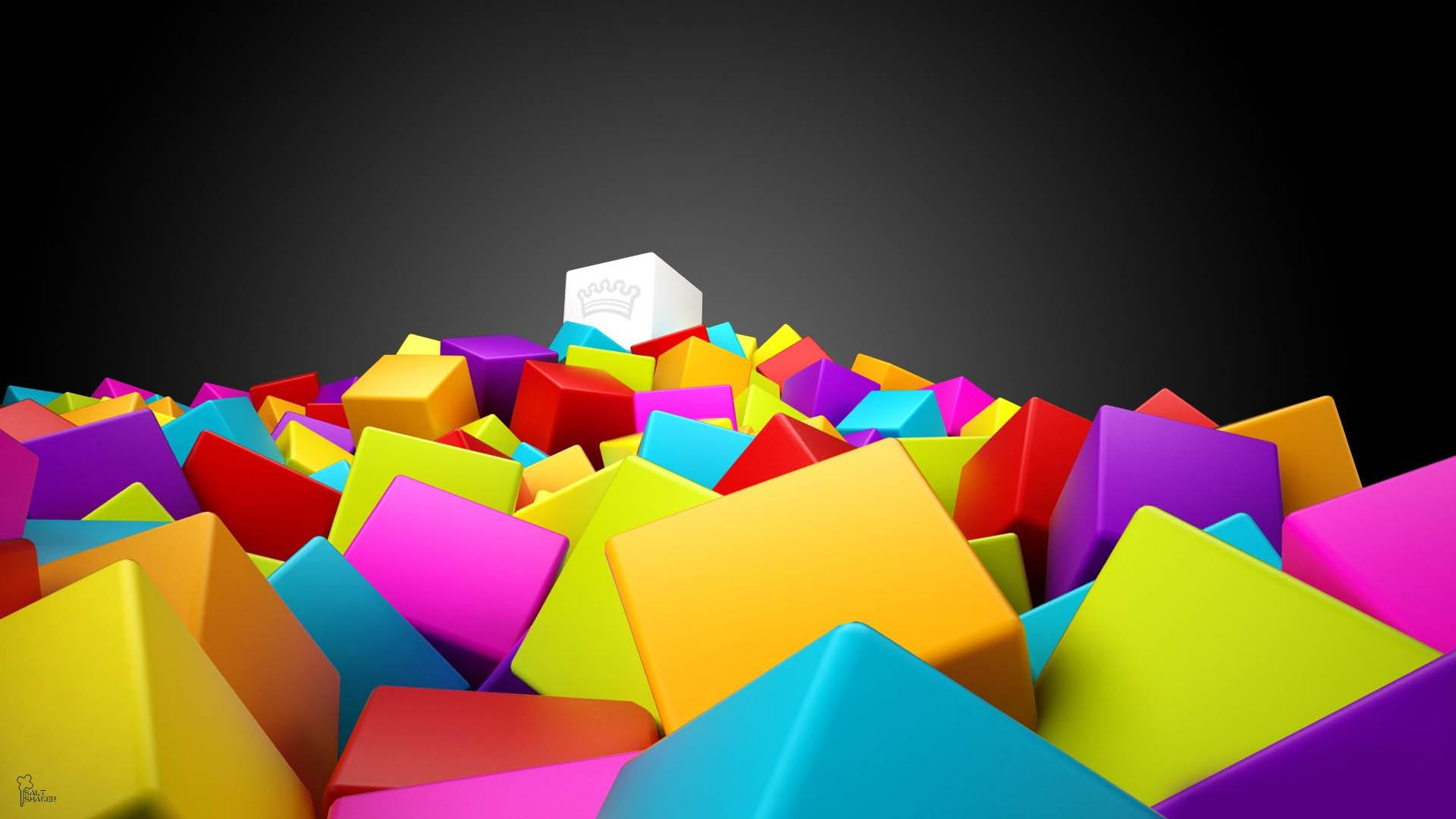 download wallpaper: kleurige 3D blokken wallpaper