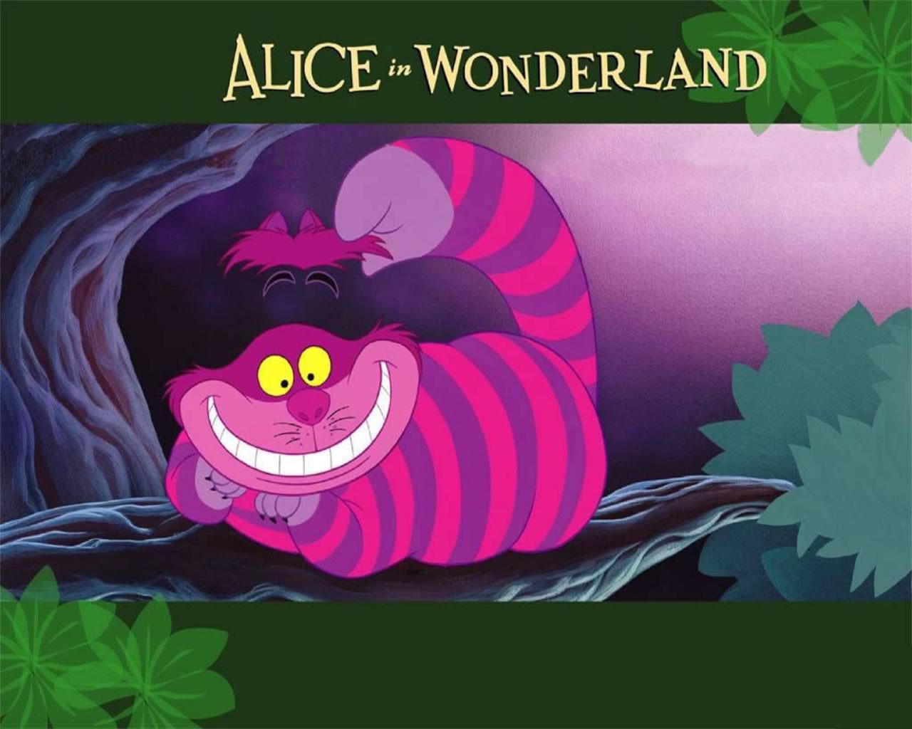 download wallpaper: kolderkat uit Alice in Wonderland wallpaper