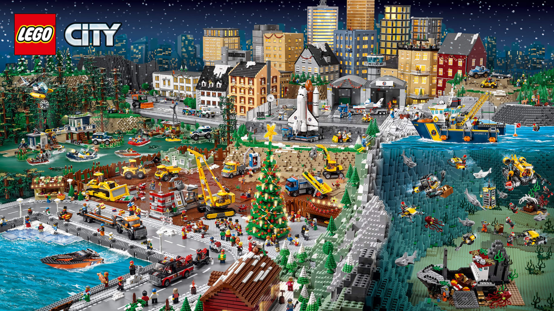 download wallpaper: kerst in LEGO City wallpaper
