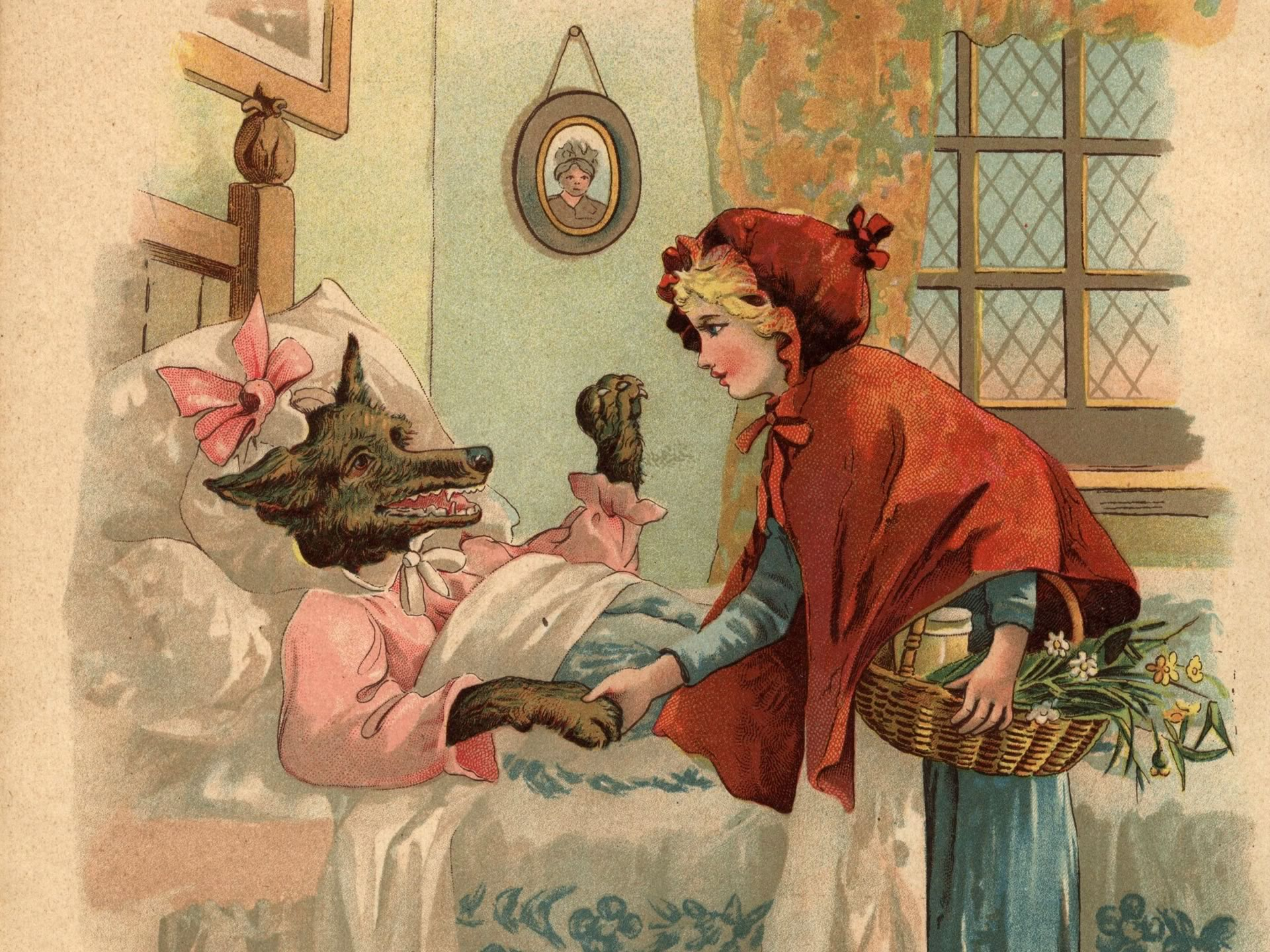 Fonkelnieuw Leuk voor kids – wallpaper: Roodkapje en de Grote Boze Wolf in JD-15