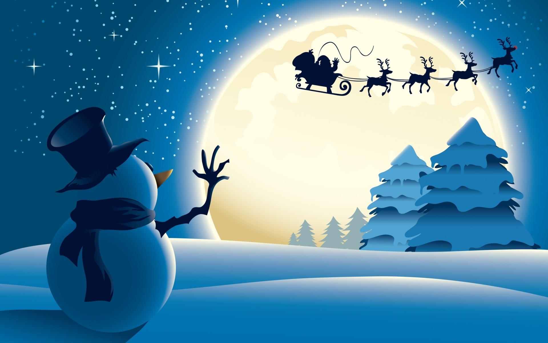 download wallpaper: Sneeuwpop zwaait de Kerstman uit wallpaper
